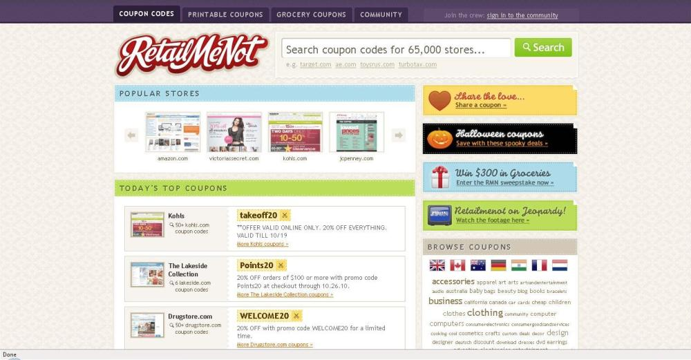 Financial Web Site Tip of the Month - Retailmenot.com