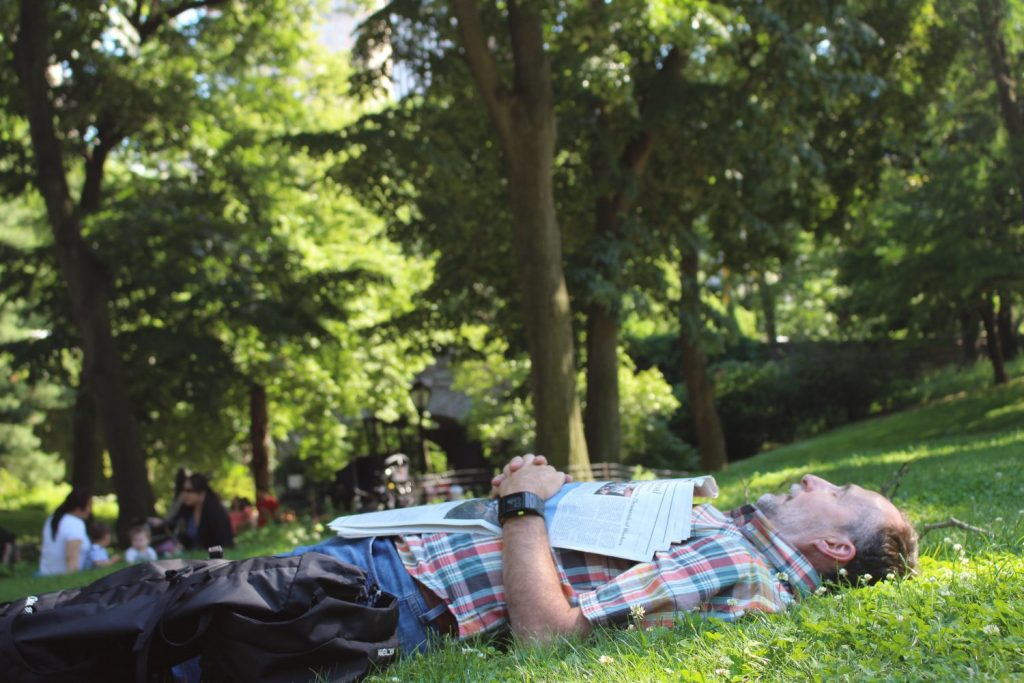 napping in Central Park