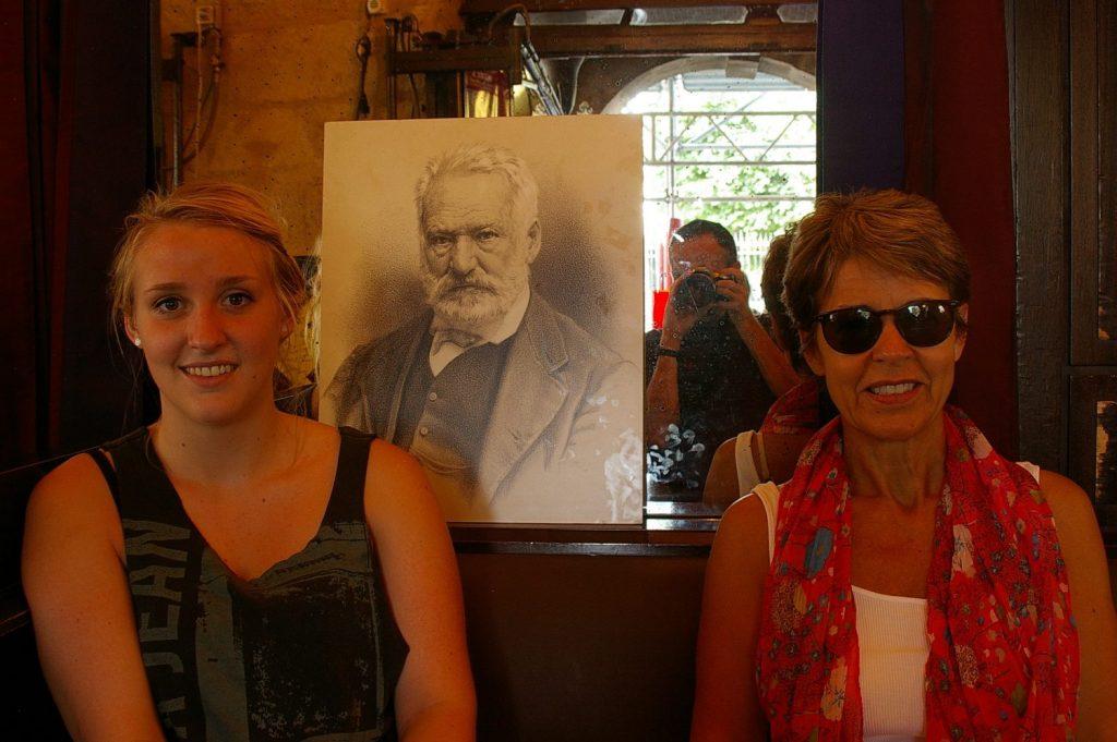 at cafe Victor Hugo