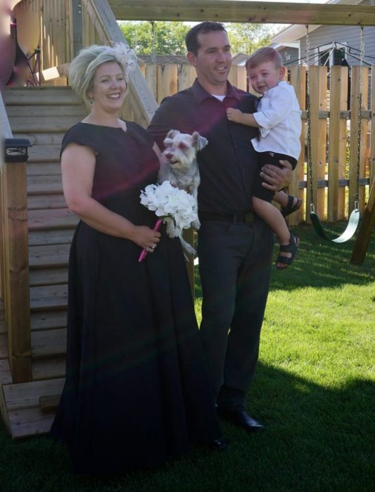 the happy couple, plus tyke & dog