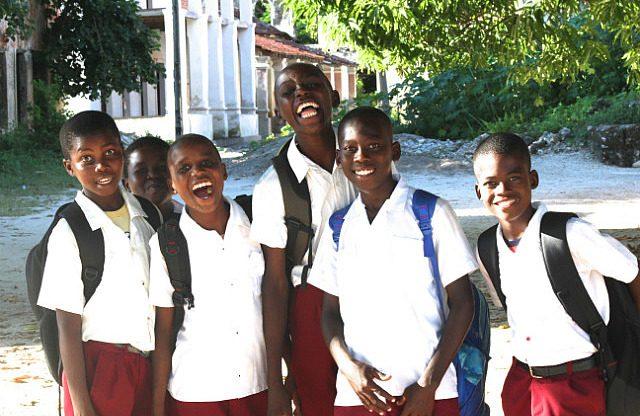 enthusiastic school boys