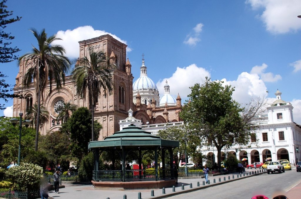 the cathedral in the background