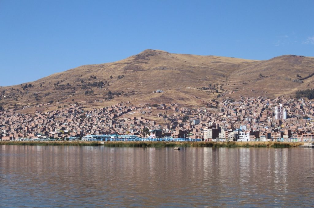 view of Puno from the boat to Uros Island