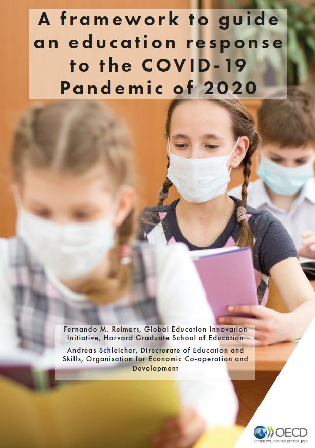 Cover of OECD Harvard framework to guide an education response to the COVID-19 pandemic of 2020