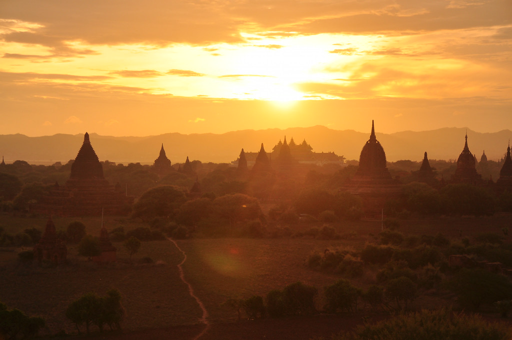 Sunset view from Shwesandaw Pagoda, Bagan, Myanmar