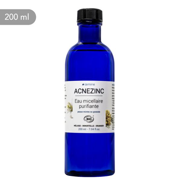 Eau micellaire purifante Oemine Acnezinc pour le nettoyage qutidien des peaux mixtes ou à à tendance acnéique