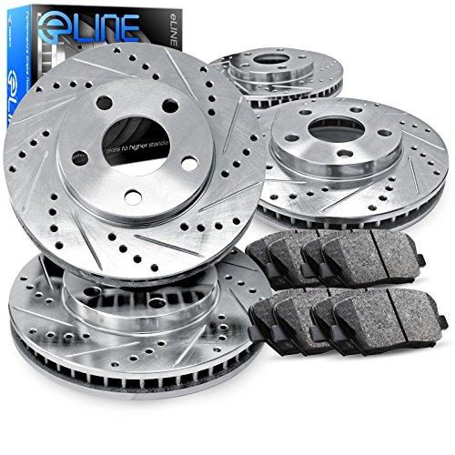 For 2014 Nissan Rogue Front Rear eLine Drill Slot Brake Rotors+Ceramic Brake Pad