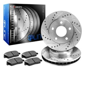 R1 Concepts KEDS11317 Eline Series Cross-Drilled Slotted Rotors And Ceramic Pads Kit - Front