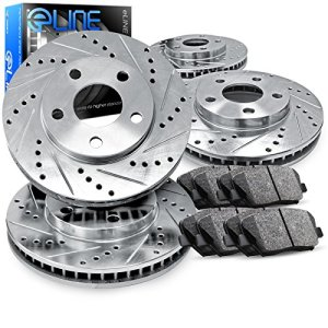 Front and Rear eLine Drilled Slotted Brake Rotors & Ceramic Pads CEC.42109.02