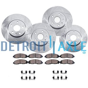 Detroit Axle - Complete FRONT & REAR DRILLED & SLOTTED Brake Rotors & Ceramic Brake Pads w/Hardware fits 2007 2008 2009 2010 2011 2012 Nissan Altima - 2013 COUPE