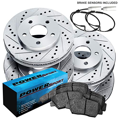 Fit 2000-2006 BMW X5 Front Rear Sport Drill Slot Brake Rotors+Ceramic Brake Pads
