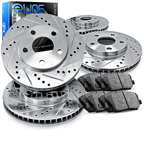 For 2007-2008 Nissan Altima Front Rear Drill Slot Brake Rotors+Ceramic Pads