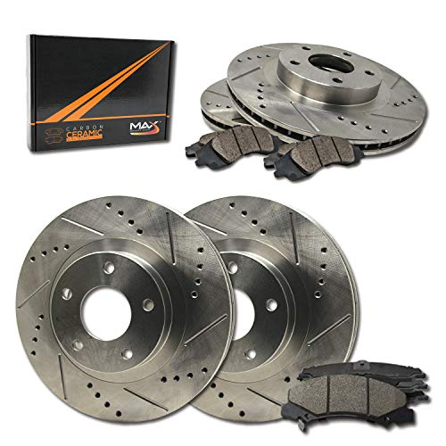 Max Brakes Premium Slotted|Drilled Rotors w/Ceramic Brake Pads Front + Rear Performance Brake Kit KT010233 [Fits:2001-2005 BMW 325i 325Ci E46]