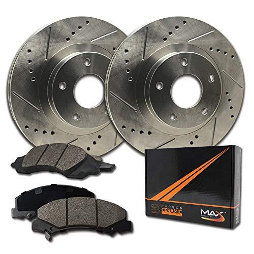 Max Brakes Premium Slotted|Drilled Rotors w/Ceramic Brake Pads Rear Performance Brake Kit KT087432 [Fits:2007-2013 BMW 328i 2WD | 2008-2010 323i]