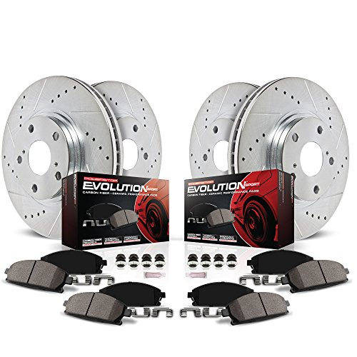 Power Stop K212 Front and Rear Z23 Evolution Brake Kit with Drilled/Slotted Rotors and Ceramic Brake Pads