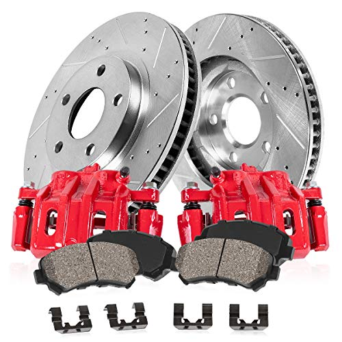 FRONT Powder Coated Red Calipers+Zinc Plated Drilled+Low Dust Ceramic Pads