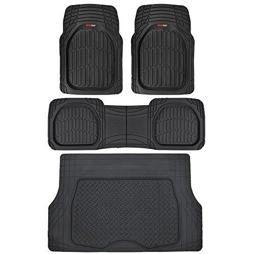 Motor Trend 4pc Black Car Floor Mats Set Rubber Tortoise Liners w/ Cargo