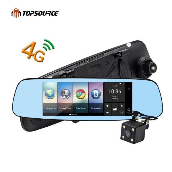 "TOPSOURCE 7"" 4G Car Mirror Camera DVR GPS Bluetooth Dual Lens Rearview Mirror Video Recorder Full HD 1080P Automobile Dash cam"