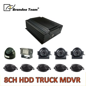 8CH truck MDVR kit, 3pcs square camera, 1pcs mini dome camera
