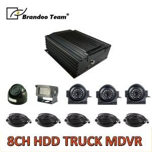 8CH truck MDVR kit, 3pcs square camera, 1pcs mini dome camera