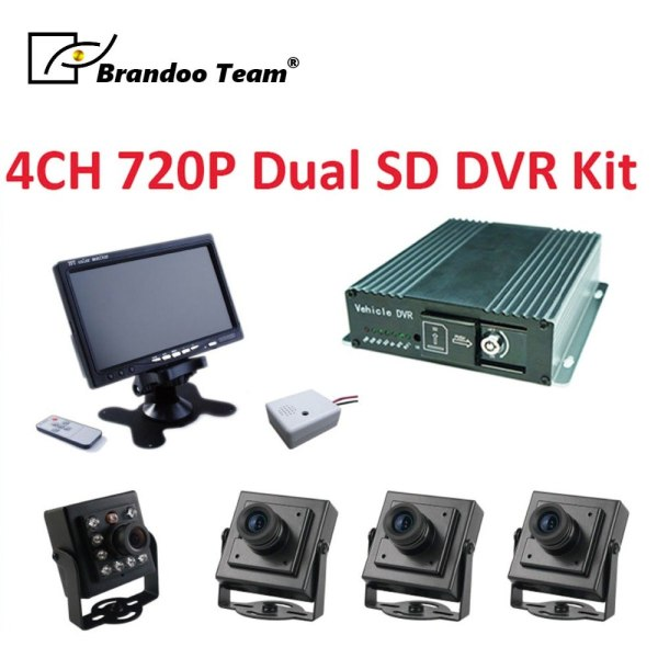 H.265 4CH 720P AHD CAR DVR system, include 4pcs camera+monitor+microphone