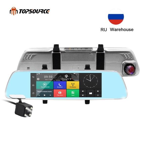 TOPSOURCE 7 inch 3G Car DVR Mirror Gps Dual Camera