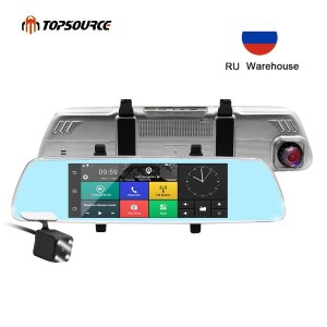 TOPSOURCE 7 inch 3G Car DVR Mirror Gps Dual Camera