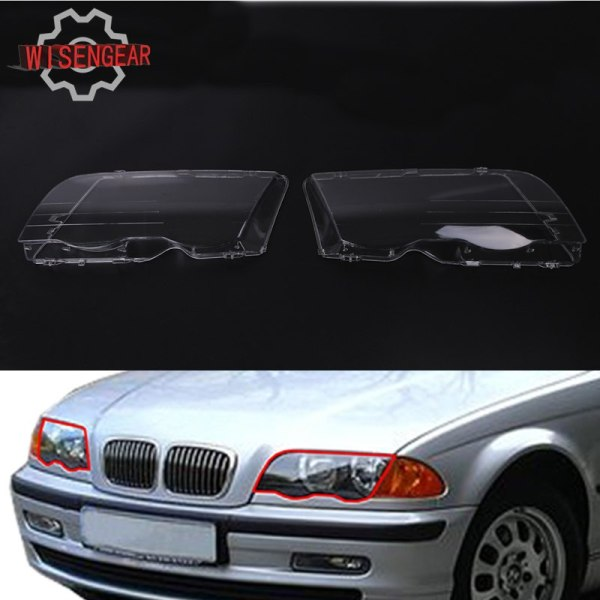 2x Headlight Lens Headlamp Cover For BMW E46 3 Series
