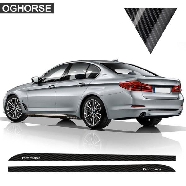 5D Carbon Fibre M Performance Side Stripes Skirt Decal Sticker for BMW