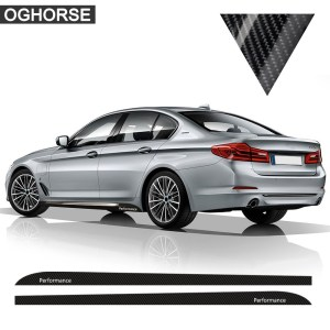 5D Carbon Fibre M Performance Side Stripes Skirt Decal Sticker for BMW