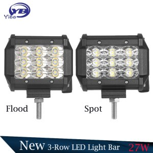 """2 PCS 4""""27W 3-Row Flood Spot Faisceau Led Light Bar"""