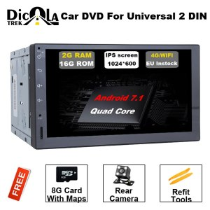 Universal 2 Din Car DVD Quad-Core Android 7.11 Car DVD Player Double Din In-dash Video Player 3G Wifi GPS Navigation free camera