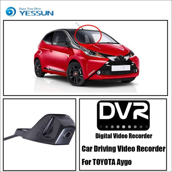 YESSUN for TOYOTA Aygo Car Front Dash Camera CAM For iPhone Android APP Control Function DVR Driving Video Recorde