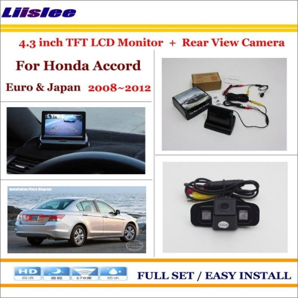 """Liislee For Honda For Accord Euro & Japan 2008~2012 Back UP Reverse Camera + 4.3"""" LCD Monitor = 2 in 1 Rearview Parking System"""