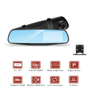 Car Dvr Full HD 1080P Dash Camera 4.3'' Video Recorder Camcorder Rearview Mirror Dual Lens Auto Registrator Night Vision For BMW