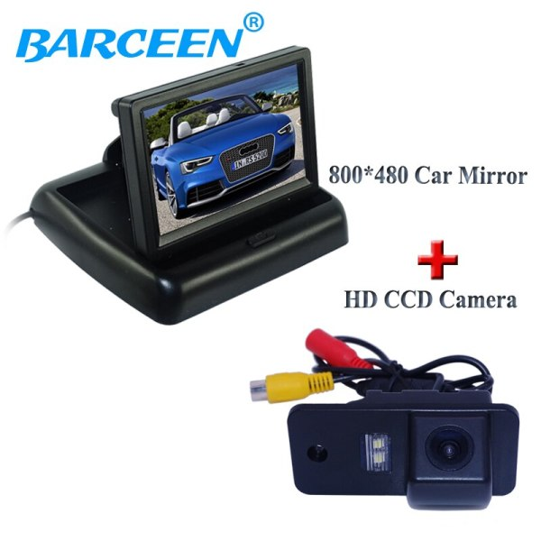 """Car camera and monitor kit include 4.3"""" foldable car reserve monitor+170 degree car rear camera for Audi A3 A4 A6 A8 Q5 Q7 A6L"""
