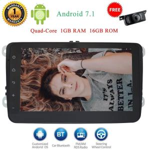 Free Camera+Android 7.1 Nougat 8'' Quad Core 2 Din in dash Car Stereo PC Head unit GPS Navigaiton Radio special for Volkswagen