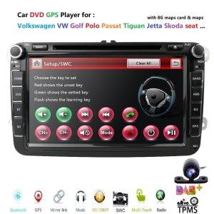 2din 8inch car dvd GPS for VW Polo Jetta Tiguan passat b6 cc fabia mirror link USB Radio BT in dash SWC GAME MAP Car Camera DAB+