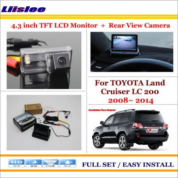 """Liislee For TOYOTA Land Cruiser LC 200 LC200 2008~ 2014 4.3"""" TFT LCD Monitor + Car Rear Back Camera = 2 in 1 Car Parking System"""