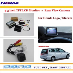 "Liislee For Honda Logo / Stream Auto Back UP Reverse Camera + 4.3"" Color LCD Monitor = 2 in 1 Rearview Parking System"