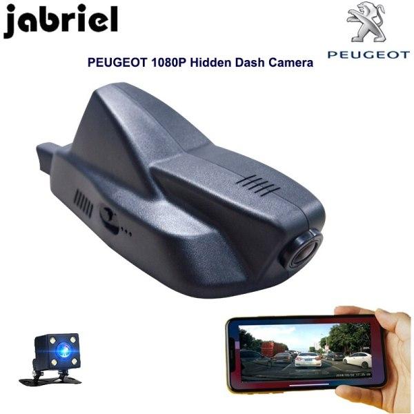 Jabriel hidden wifi car dvr for 2015 2016 2017 2018 PEUGEOT 2008 Auto 1080P Dash Cam Car Recorder Camera dual lens rearview cam