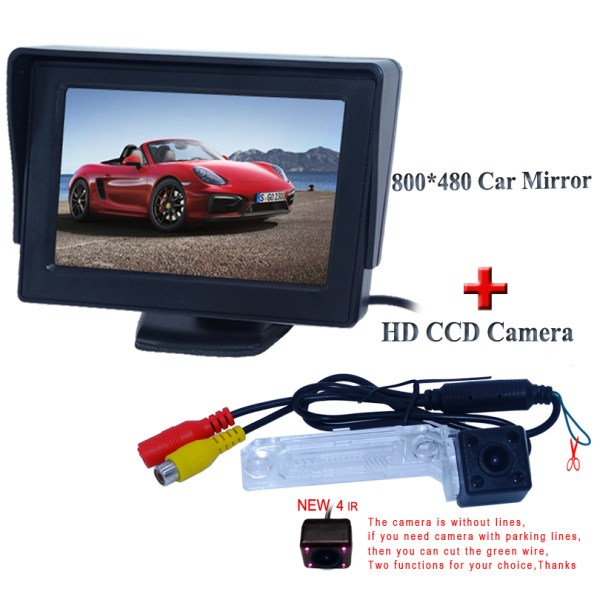 """Universal 4.3"""" lcd car parking monitor +wire car rearview camera 4 ir suitable for Volkswagen PASSAT B5/Jetta/Touran/Caddy"""