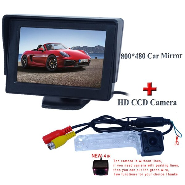 "FOR Volkswagen PASSAT B5/Jetta/Touran/Caddy 4.3"" car rear monitor hd ccd display+4 IR car backup camera kit"