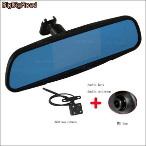 BigBigRoad For toyota corolla 1.6 vios fs For Dodge Caliger Car Mirror DVR Camera Blue Screen Dual Lens Video Recorder Dash Cam