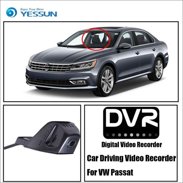 YESSUN For iPhone Android APP Control Function Car Front Dash Camera CAM DVR Driving Video Recorder for Volkswagen Passat