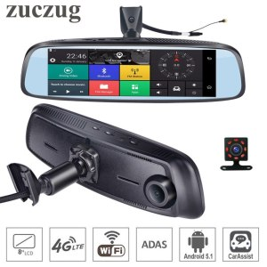 """ZucZug 8"""" 4G Touch IPS Special WIFI Car DVR Camera Android RearView Mirror Dash Cameras Dual Lens GPS Bluetooth ADAS Car Assist"""