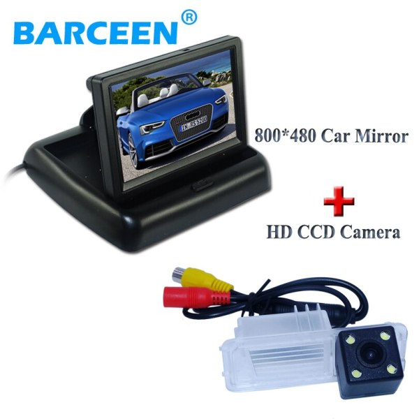 """4.3""""car display monitor and car back camera with 4 LED plastic shell 170 wide viewing angle for Volkswagen GOLF 6 /Magotan"""