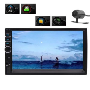 Bluetooth Music Playing 7 Colorful Buttons Reverse Camera Input + Wireless Remote Contral Double 2Din 7 inch Capacitive Touch