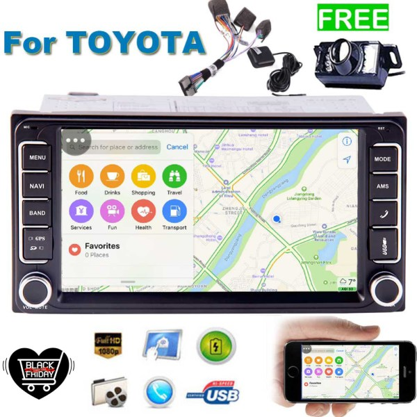 Double DIN In Dash Car Stereo MP5 Audio 1080P Video Player for Toyota Support GPS Bluetooth FM AM Radio TF USB SD AUX-in Camera