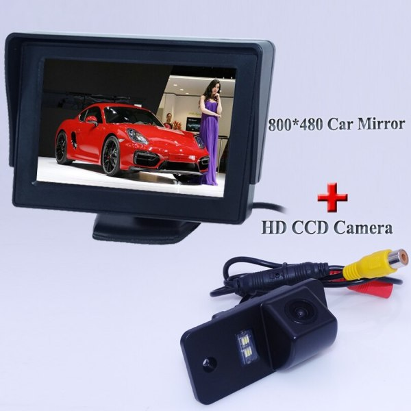 """Glass lens materinal car rear reversing camera with screen monitor 4.3"""" display 2 in 1 set adapt for Audi A3 A4 A6 A8 Q5 Q7 A6L"""